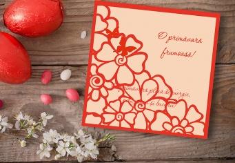 Felicitare cu flori si fluturasi