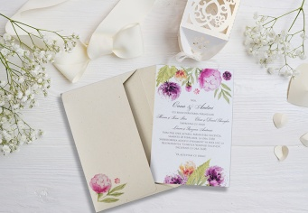 Invitatie ieftina de nunta cu bujori