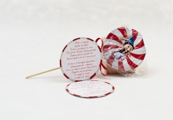 Invitatie botez Lollipop acadea