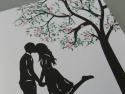Detaliu copacel imprimat cu frunze si flori