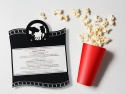 Invitatie nunta decupata laser cu motive Cinema