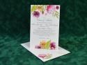 Invitatie ieftina si eleganta pentru nunta cu flori, bujori si plic gratuit