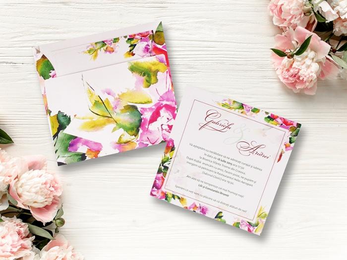 Invitatie nunta cu flori de primavara