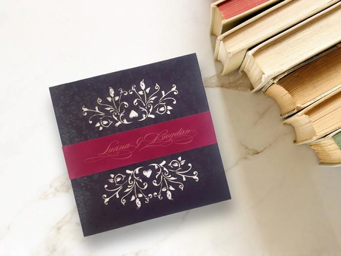 Invitatie de nunta cu elemente florale vintage decupate