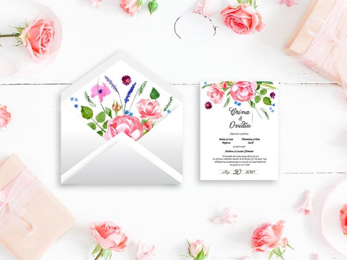 Invitatie de nunta flori de camp