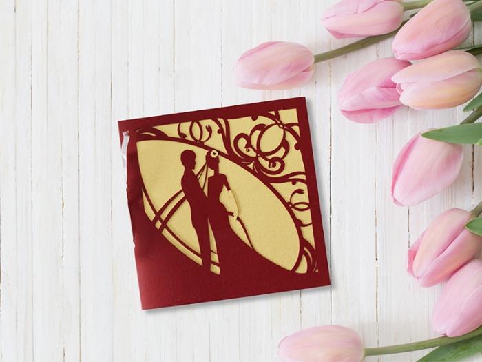 Invitatie de nunta cu plus decupat si aplicat