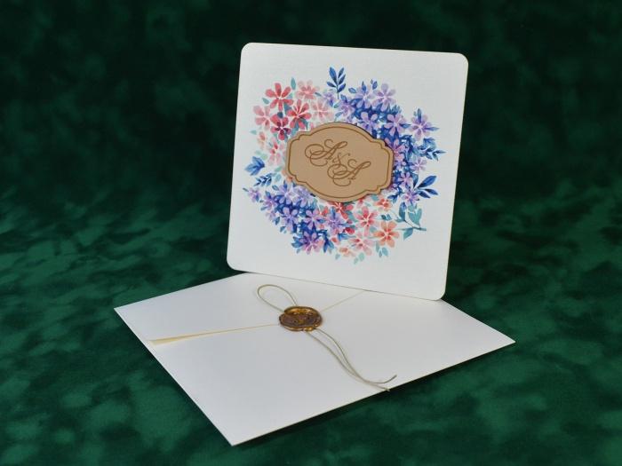 Invitatie nunta vilet lila mov cod 081