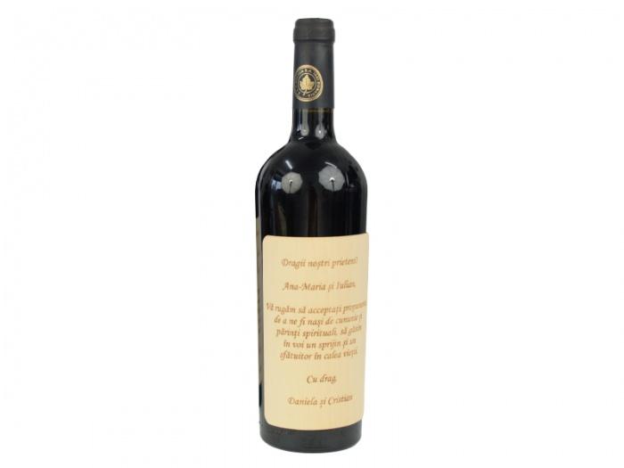 Sticla vin cu eticheta lemn