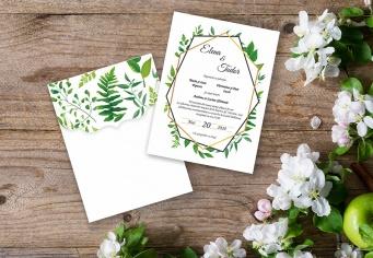 Invitatie de nunta cu design verde