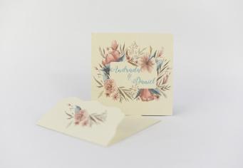Invitatie cu floricele de camp si spice de grau
