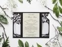 Invitatie nunta cu copac si inimioara