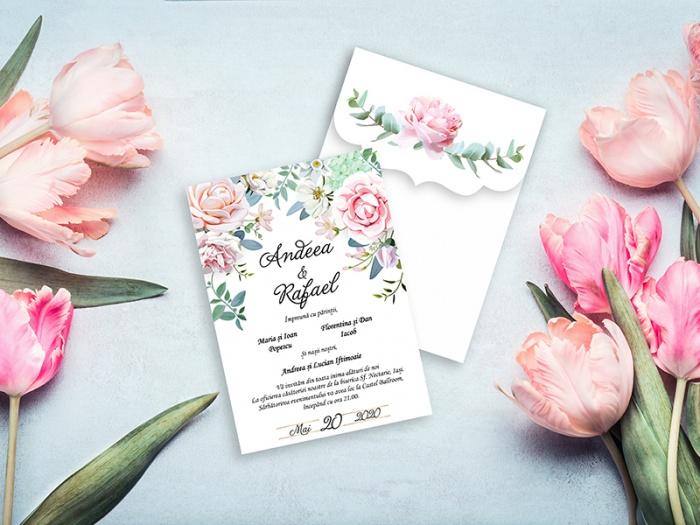 Invitatie de nunta pastelata