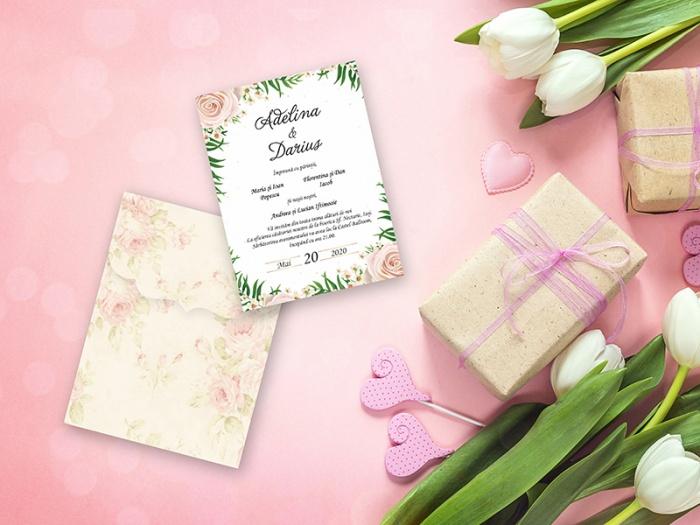 Invitatie de nunta cu trandafiri de primavara