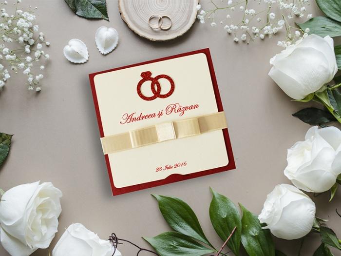 Invitatii nunta cu verighete sclipitoare