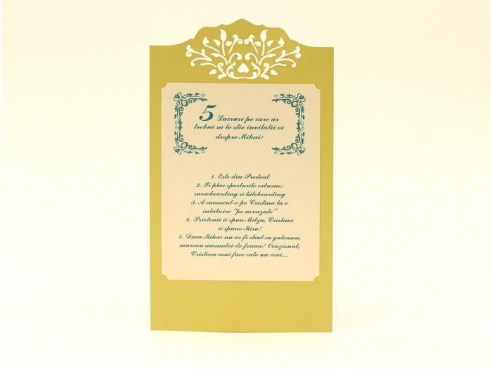 Meniu personalizat pentru nunta